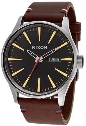 Nixon Men's A105019-00 Sentry Brown Leather Black Dial Watch