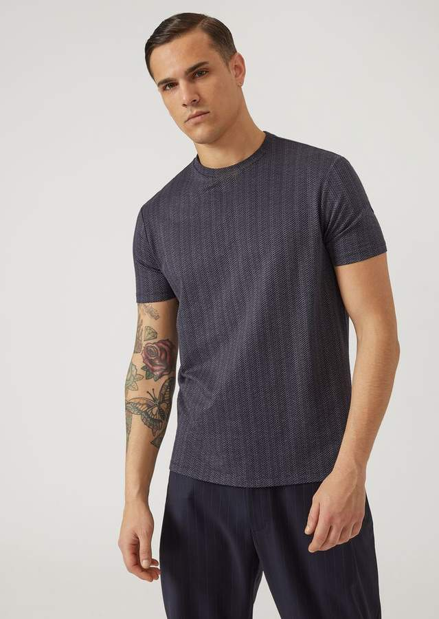 Emporio Armani Stretch Viscose T-Shirt With Jacquard Micro Motif