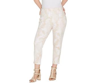 Kelly by Clinton Kelly Petite Printed Ponte Crop Pants