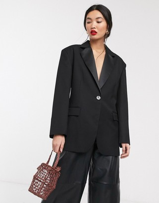 ASOS cinched back oversized suit jacket