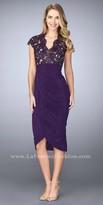 La Femme Tulip Draped Rhinestone Embellished Knee Length Dress
