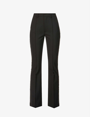 Area Crystal-embellished high-rise woven trousers