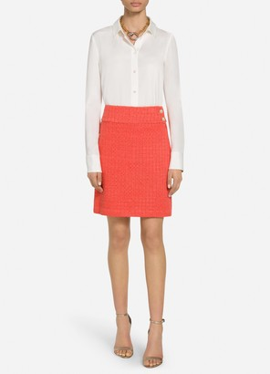 St. John Ribbon Textured Windowpane Knit Skirt