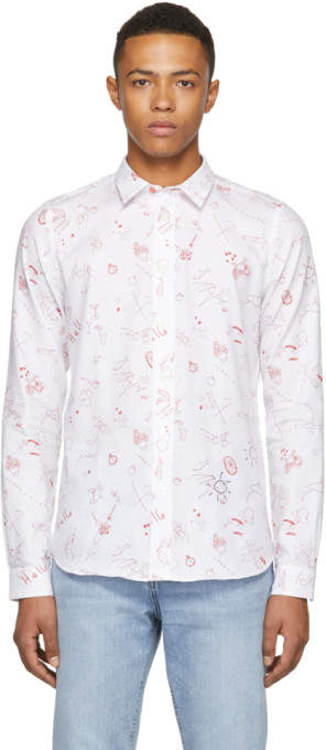 Paul Smith White and Red Sketches Tailored Shirt
