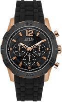 GUESS Men's Chronograph Black Silicone Strap Watch 46mm U0864G2
