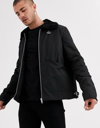 ASOS DESIGN flight jacket with faux fur collar in black