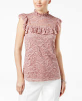 Cable & Gauge Mock-Neck Lace Blouse