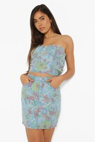 Thumbnail for your product : boohoo Vintage Floral Denim Mini Skirt