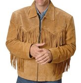 Celebrita X Simple Design of Western Leather Jacket Brown with Fringes CX07