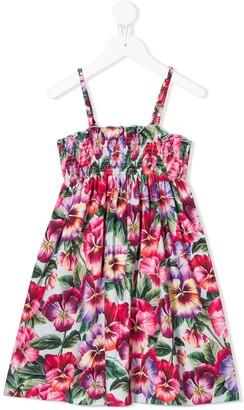 Dolce & Gabbana Floral Print Shirred Dress