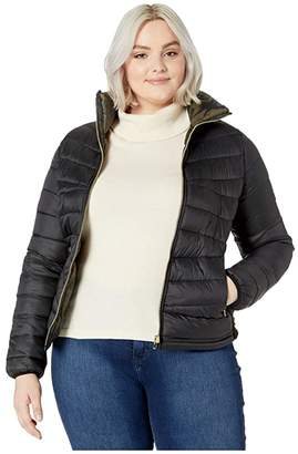 YMI Jeanswear Snobbish Plus Size Reversible Packable Puffer Camouflage Jacket (Black/Camo) Women's Clothing