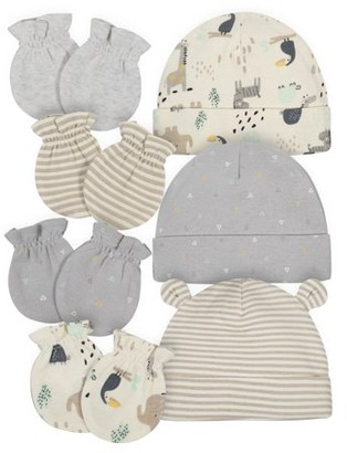 Gerber Baby Boy or Girl Gender Neutral Organic Caps and Mittens Bundle, 7pc
