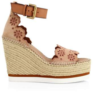 See by Chloe Laser Cut Wedge Espadrille Sandals