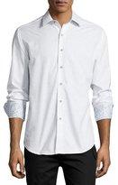 Robert Graham Cullen Long-Sleeve Jacquard Sport Shirt, White