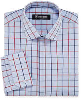 Stacy Adams Long Sleeve Woven Grid Dress Shirt