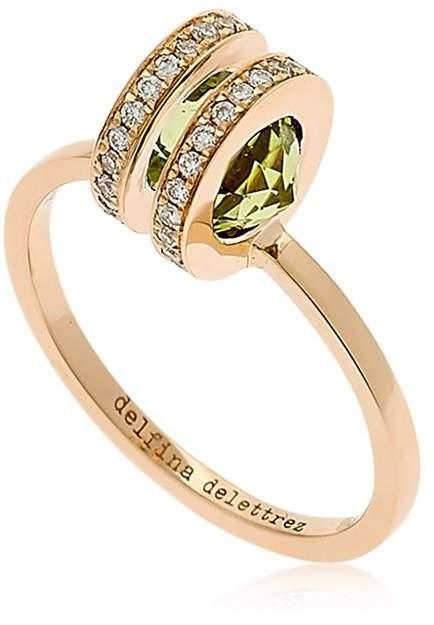 Delfina Delettrez Seal Double Gold Peridot Ring