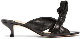 Sophia Webster Bonnie Shimmering Suede Knotted Mules - Womens - Black
