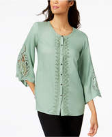 JM Collection Lace-Trim Blouse, Created for Macy's