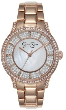 Jessica Simpson Women's Crystal Encrusted Rose Gold Plated Bracelet Watch 36mm