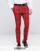 Religion Skinny Suit Trouser In Tartan With Zip Detail