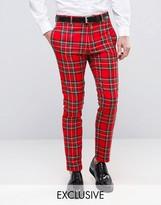 Religion Skinny Suit Trouser In Tartan With Zip Detail