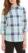 Allison Daley Long Roll-Tab Sleeve Button Front Plaid Shirt