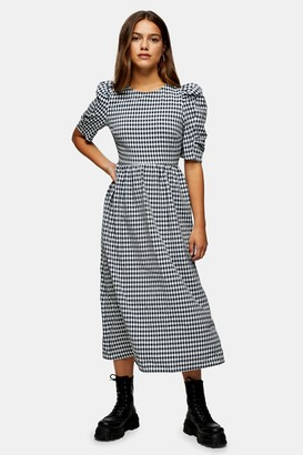 Topshop PETITE Navy Gingham Cross Back Smock Midi Dress
