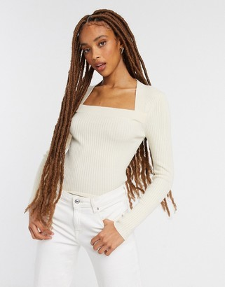 ASOS DESIGN ribbed jumper with open square neck in cream
