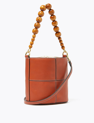 Marks and Spencer Woven Beaded Handle Bucket Bag