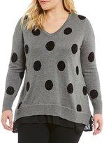 Chelsea & Theodore Plus Embellished Polka Dot Sweater
