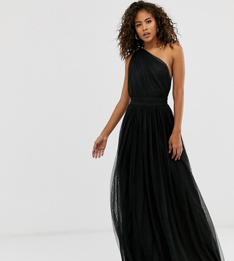 Asos Tall DESIGN Tall one shoulder tulle maxi dress-Black