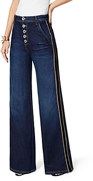 Ramy Brook Heidi Striped Wide Leg Jeans in Dark Rinse