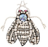Rochas Crystal-embellished bug brooch