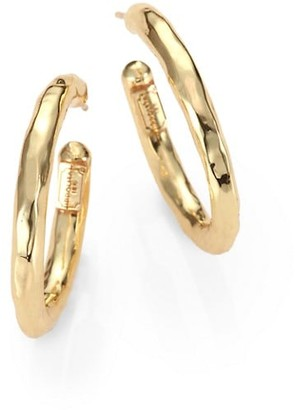Ippolita Classico Small 18K Yellow Gold Hammered Hoop Earrings