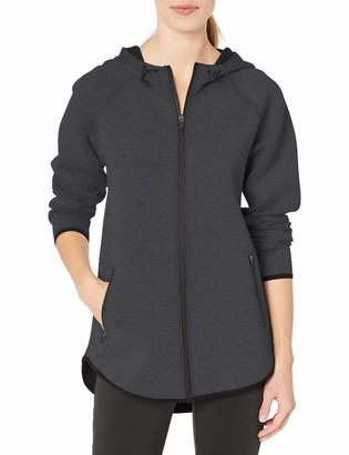 Amazon Essentials Women's Longer Length Tech-Sport Knit Full-Zip Hooded Jacket