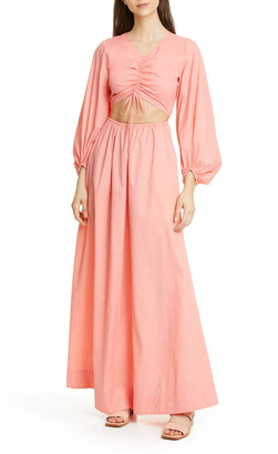 STAUD Tangier Cutout Long Sleeve Nylon Maxi Dress