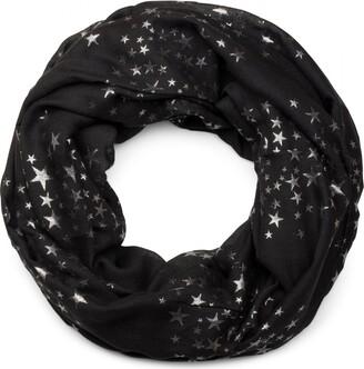 styleBREAKER loop tube scarf with glittering metallic stars all-over print pattern scarf kerchief women 01016118