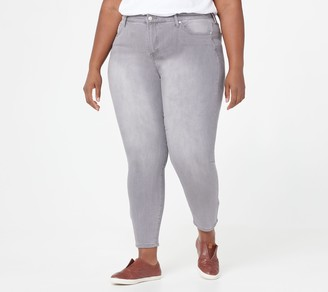 Isaac Mizrahi Live! Petite TRUE DENIM Ankle Jeans w/ Back Zip Hem