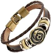 Braided Leather Rope Triple Bracelet Brass Color Metal Clasp Brown Leather Bangle Cuff By LEO BON