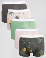 Asos Trunks With Digital Pineapple Print 5 Pack