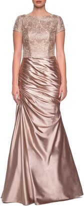 La Femme Embroidered Draped Trumpet Gown