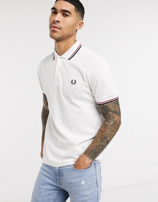 Fred Perry twin tipped logo polo in white/red/navy