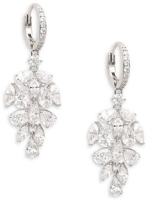 Adriana Orsini Rhodium-Plated Crystal Cluster Drop Earrings