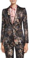 Alice + Olivia Macey Floral-Print Single-Button Blazer, Burgundy