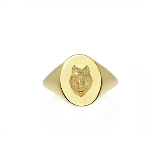 No 13 Wolf Signet Ring Solid Gold