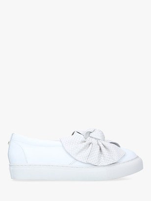 Carvela Jedd Leather Bow Slip On Trainers, White