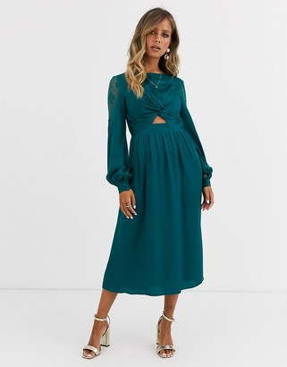 Little Mistress satin midi dress with cut out waist in teal-Blue