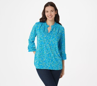Belle by Kim Gravel Ditsy Floral 3/4-Sleeve Print Blouse