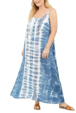 Raviya Plus Size Tie-Dyed Cover-Up Dress Women's Swimsuit