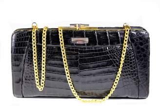 Non Signé / Unsigned Non Signe / Unsigned Black Crocodile Clutch bags
